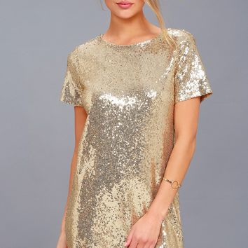 Party Hour Gold Sequin Short Sleeve Dress