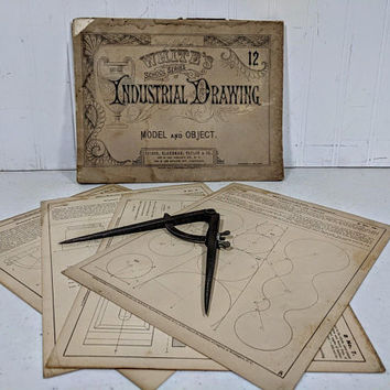 Antique Industrial Drawing Collection of 6 Pieces Draftsman School Series Instructional Book of Engravings Plates Plans and Vintage Compass