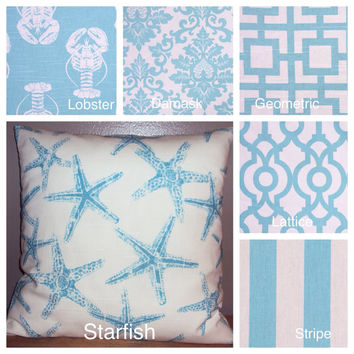 Modern Coastal Blue Decorative Pillow Cover In 6 Different Patterns