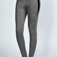 Lucia Grey Marl Quilted Leather Look Panel Joggers