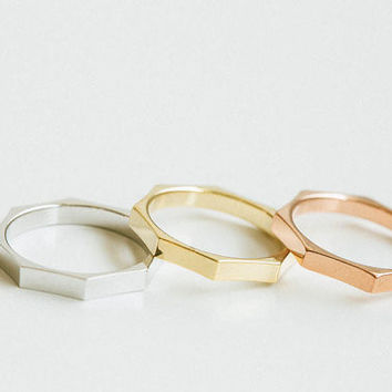 Wedding Brand 18K Gold Plated Nut Shape Ring Free Shippintg Octagon Rings For Women Size6.75
