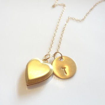 Heart Locket Necklace, Gold Filled Chain, Disc, Monogram, Initials, Charm, Mommy, Personalized, Bridesmaids, Handmade Jewelry