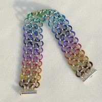 Rainbow Niobium and Sterling Silver Japanese Lace Ombre Bracelet - Ready to Ship
