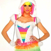 Womens Leg Avenue Starbrite Monster S-M Sexy Halloween Costume Cosplay Dress Hat
