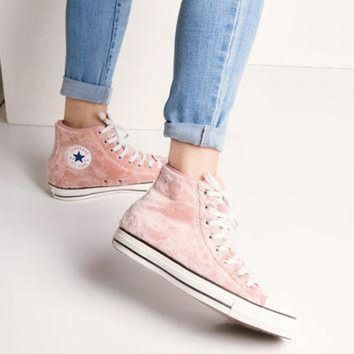ICIKGQ8 converse chuck taylor women s fuzzy hi top sneakers in rose tan black white
