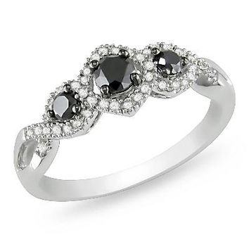1/2 CT. T.W. Enhanced Black and White Diamond Three Stone Braided Framed Ring in 10K White Gold