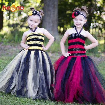 Keenomommy Red and Black Tutu Dress Girls Ladybug Queen Halloween Costume Fall Autumn Christmas Pageant Gown TS130