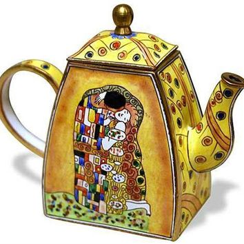 Klimt The Kiss Miniature Porcelain Hand Painted Teapot 4.25H
