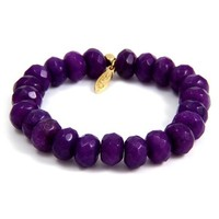 Purple Colored Bead Elastic Bracelet