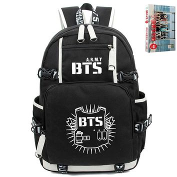 (BTS post card gift)KPOP Bangtan Boys BTS Luminous Bookbag Shoulder Bag Backpack School Bag (Size: L)