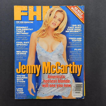 1990s Vintage / FHM Magazine / For Him Magazine / February 1997 / Jenny McCarthy / Melissa George / British Mens Magazine / 90s Fashion