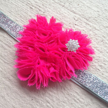 Hot Pink Baby Headband - Hot Pink Rosette Heart with a Rhinestone Button on Glitter Elastic -Girl Accessories -Valentine's Day Girl Headband