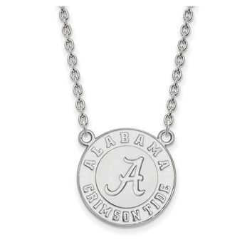 NCAA 14k White Gold U of Alabama Large Disc Pendant Necklace