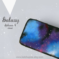 Space Galaxy Nebula Cell phone gadget case cover Hand painted PU Leather Iphone 4 Case