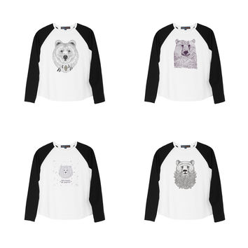 Kid's Bears in hand draw style Print Cotton Long Sleeves Raglan T-shirt  UTS_01