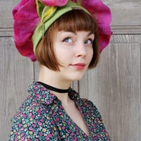 Felted floral hat, spring flower, unique fairy hat, festive elvish hat, fashionable designer hat, felt floral bonnet, bohemian style, OOAK