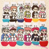 12Pairs all set Exo Exo-m exo-k from exoplanet Socks Kpop