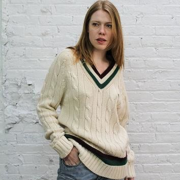 chunky cable knit 80s Izod Lacoste vneck preppy sweater / cream golf sweater with burg