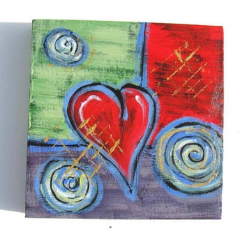 Acrylic Abstract Heart Painting Original on Canvas