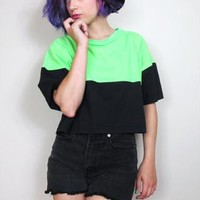 80s Neon Beach Lime Green Black Color Block Crop Top Tshirt  from Honey Moon Muse