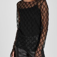 Gucci Gg Embroidered Tulle Top #1257