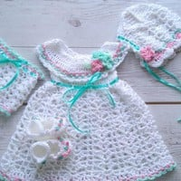 Baby girl white dress, matching shoes and bonnet