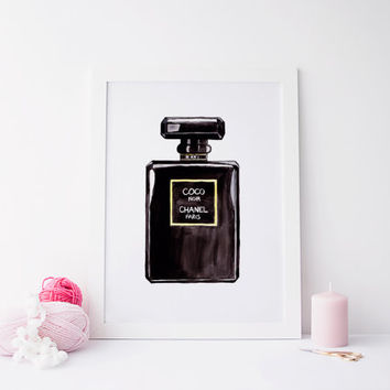 Printable art black perfum art, black art, perfum bottle art, chanel perfum art, perfum art, chanel art, coco chanel print, instant download