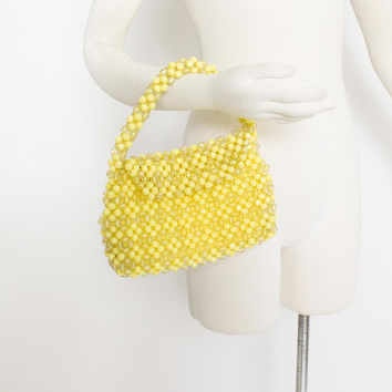 Vintage 1960s Prse - BEADED Yellow Hand Bag + Coin Purse 60s