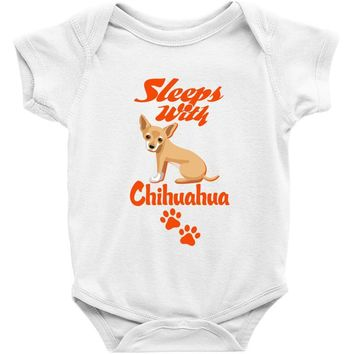 Sleeps With Chihuahua Baby Onesuit