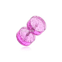 A Pair of Glitter Shimmer UV Acrylic Fake Gauge Plug Earring (Purple)