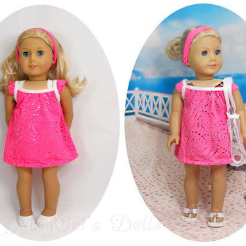 "18"" American Girl Dress Hot Pink Lacy Dress, A bathingsuit Cover Up with Optional Beach Bag"