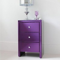serina purple glass bedside table by out there interiors | notonthehighstreet.com