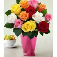 One Dozen Long Stemmed Rainbow Roses (with FREE glass vase) - Flowers
