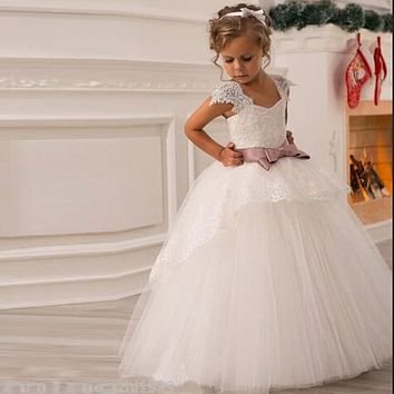 2017 Flower Girl Dresses with Sashes Cap Sleeves Ball Gown Party Pageant Dress for Little Girls Kids/Children Dress for Wedding