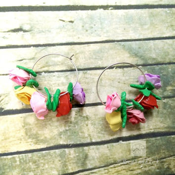 realistic colorful roses hoop earrings polymer clay handmade
