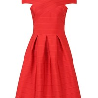 Honey Couture TAYLA Red Off Shoulder Midi Bandage Dress