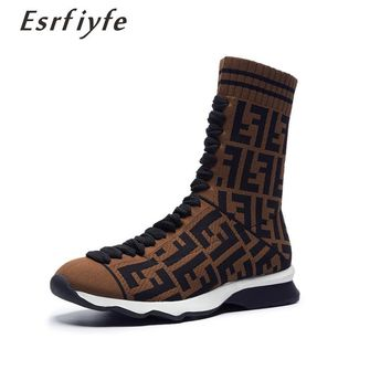 ESRFIYFE Luxury Brand New Winter Femme Short Plush Shoes Women Ankle Boots Stretch Knitting Boots Women Casual Shoes Botas Mujer