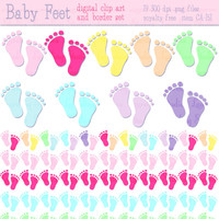 baby shower clip art & borders, baby feet, digital scrapbook borders, .png, royalty free commercial use, instant download, CA151