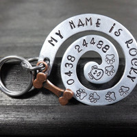 Dog Pet Tag, ID Tags For Dogs, Large Pet Tag, Large Dog ID Tag, Aluminium Swirl Dog Tag, Custom Pet ID, Name Tags for Dogs