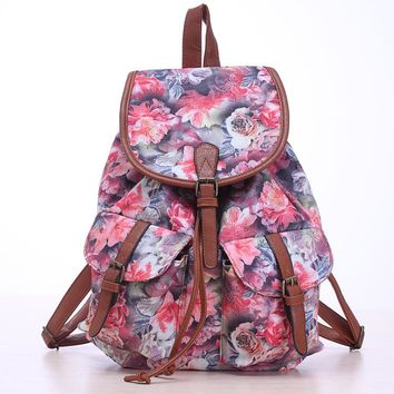2017 Vintage Backpacks Elephant Butterfly Print Drawstring Canvas Backpack Floral Mochila Girls School Bags Travel Bags Rucksack