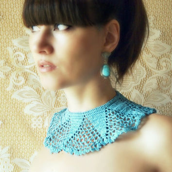 crochet lace collar upcycled vintage bib necklace turquoise teal