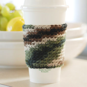 Crochet Coffee Cup Cozy Camo Travel Cup Cozy Cup Sleeve Gift Idea Gifts for Him