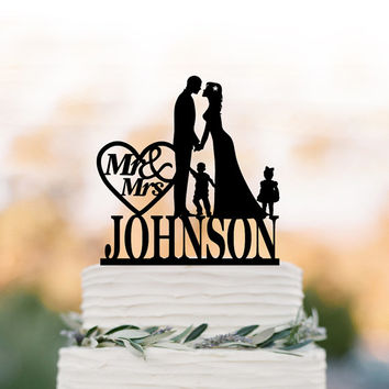 Personalized Wedding Cake topper with child, customized cake topper for wedding, silhouette wedding cake topper with boy and girl mr and mrs