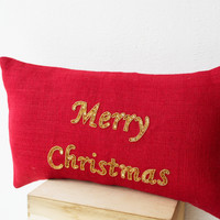 Merry Christmas Pillow - Red gold burlap cushion - Decorative throw pillows with greetings - Gold sequin pillow -lumbar pillow - 12x20 -gift