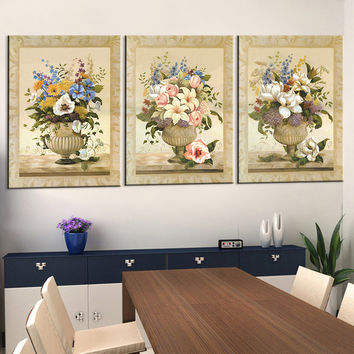 Oil Painting Canvas Print Home Decoration Modern Flower Picture Canvas Art Work Gift for Living Room Wall Poster 3pcs