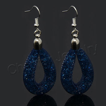 Free shipping Hot sale Drop Mesh earring with tiny stones filled, dangle stardust earring