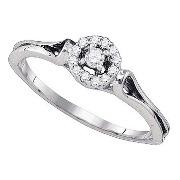 10kt White Gold Women's Round Diamond Solitaire Bridal Wedding Engagement Ring 1/10 Cttw - FREE Shipping (US/CAN)
