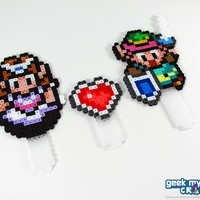 Legend of Zelda - Link, Princess Zelda, and Heart Container Cake Topper Decorations