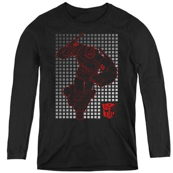 Transformers Womens Long Sleeve Shirt Optimus Prime Grid Black
