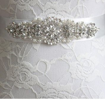 Bridal belt wedding accessories bridal belts with crystals pears beaded